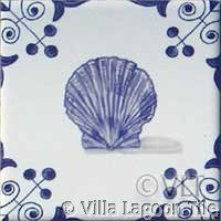 Scallop shell tile for nautical decor--hand drawn on the original by Lundy Wilder
