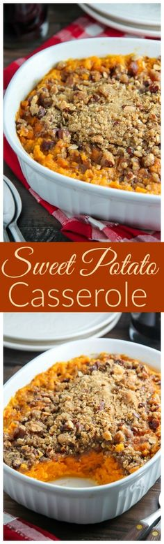 The Best Sweet Potato Casserole! Creamy sweet potato casserole topped with crunchy brown sugar and almond streusel.
