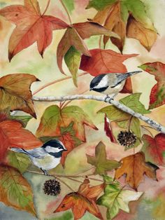 Chickadees on autumn leaf branch by TivoliGardens on Etsy, $25.00