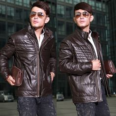 Tall and Big Men Dark Brown Leather Fur Winter Puffer Bomber Coat Jacket SKU-116042
