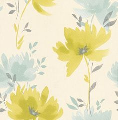 Albany Collage (201021) - Albany Wallpapers - A fresh floral motif in a water colour paint effect with metallic silver highlights. Showing in lime green and blue - more colours are available. Please request a sample for true colour match.