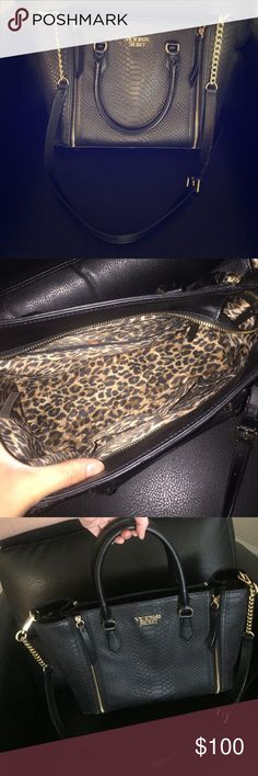 Beautiful Victoria's Secret leather purse 😍 Gorgeous snakeskin embossed leather purse by Victoria's Secret, with removable crossbody strap. (Also has 4 gold feet on bottom). Perfect for travel. Can fit a MacBook 13' ... Loved this bag. 😍😍😍 Comes with dust bag. Victoria's Secret Bags Crossbody Bags
