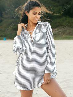Striped Loose Shirt Collar Long Sleeve Dress
