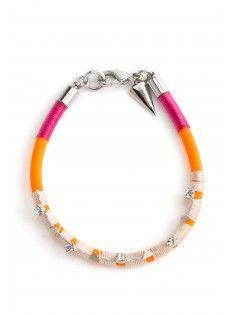 Rubber & Cord Crystal Tri Bracelet