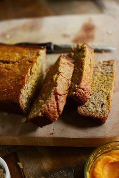 Gluten free banana bread with butternut squash puree