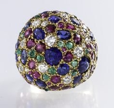 A gem-set and diamond 'Vitrail' ring, Suzanne Belperron, French, circa 1950
