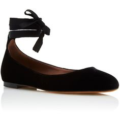 Tabitha Simmons     Daria Ballerina Flat ($595) ❤ liked on Polyvore featuring shoes, flats, black, black shoes, round toe ballet flats, ballerina pumps, ankle wrap ballet flats and ballerina flats