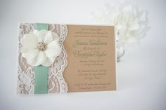 ANDREA: Mint Burlap and Lace Invitation, Green Summer Wedding Invitation, Garden Party Flower Invitation, Shabby Chic Wedding Invitation