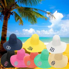 Summer is almost here! Don't go to the beach, lake or event without your personalized floppy hat. Available in bright summer colors with your name or initials embroidered on the brim. These hats make a great gift for friends, family or as bridesmaid gifts. #summer #hat #beach #pool #personalized