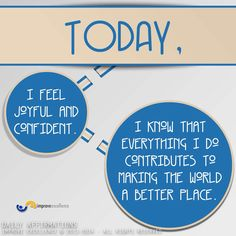 "#positive #daily #affirmations  I repeat this all day long to focus my mind on contributing to make the world a better place, and I feel joyful about it. ""Who can I help today?, what can I do to make an impact on people, my family, and the environment?""  ""Everything I do contributes to making the world a better place""  #positivewords #improveexcellence  #improve #excellence © 2014 - All Rights Reserved"