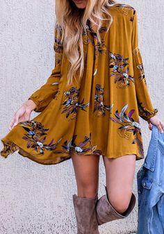 Khaki Floral Cut Out Round Neck Long Sleeve Mini Dress