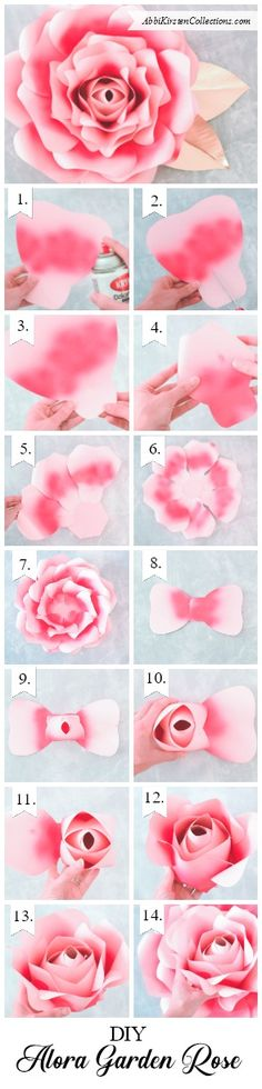 Giant paper rose printable template. Easy paper rose tutorial. PDF printables. SVG cut files.