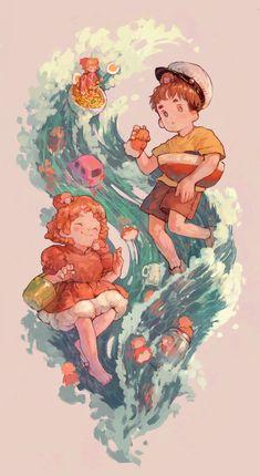 Studio Ghibli Art, Studio Ghibli Movies, Ponyo Anime, Japon Illustration, Anime Scenery, Totoro, Animes Wallpapers, Cartoon Art, Cartoon As Anime