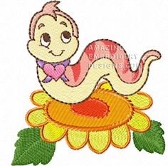 This free embroidery design is a cute little worm.