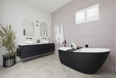 The Block 2020: Master Ensuite Reveals The Block Bathroom, The Block Australia, Fish Scale Tile, Smart Toilet, Beaumont Tiles, Stone Look Tile, Black Bath, Wall Hung Vanity, Curved Walls
