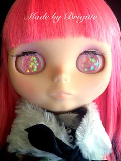 Pink Star Resin Glitter Eye Chips for Blythe or Byul by zombuki