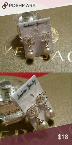 Faux pearl earrings Silver tone faux pearl earrings 1 1/8 x 1/2 inch #1138 Jewelry Earrings