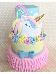 Hazelnut and chocolate cake - HQ Recipes Unicorn Themed Birthday Party, Unicorn Party, Birthday Cake, Unicorn Cakes, Pretty Cakes, Cute Cakes, Beautiful Cakes, Fondant Cakes, Cupcake Cakes