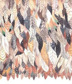 Feathers galore by artist Michelle Morin of Unitedthread. Art And Illustration, Illustrations, Pattern Illustration, Rocky Horror, Graphic Patterns, Print Patterns, Geometric Patterns, Textiles, Pattern Art