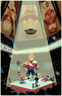 Here's a piece I created based on the NES game Mike Tyson's Punch-Out! It's currently featured in the Super Button Mashers art show at . Frank Miller, Super Smash Bros, Video Game Art, Video Games, Punch Out Game, Fan Art, Punch Out Nintendo, Little Mac, Gamer 4 Life
