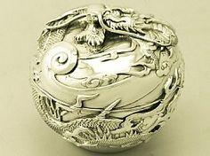 Japanese Silver Box | Antique Sterling Silverware  An exceptional, fine and impressive antique Japanese sterling silver box; an addition to our Asian silverware collection.  http://www.acsilver.co.uk/shop/pc/Japanese-Sterling-Silver-Box-Antique-1913-42p6530.htm#.VCkGuvldXHU