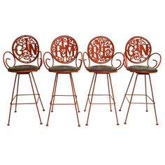 Set of 4 Bar / Counter Stools | From a unique collection of antique and modern stools at http://www.1stdibs.com/furniture/seating/stools/