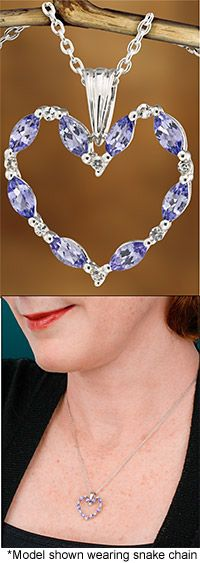 Heart of Love Sterling & Tanzanite Necklace~ Every Purchase Funds Mammograms for Women in Need.