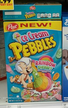 New Cereal, Crunch Cereal, Sherbet Ice Cream, Pebbles Cereal, Cereal Packaging, Types Of Cereal, Cornflakes, Impulsive Buy, Rainbow Sherbet