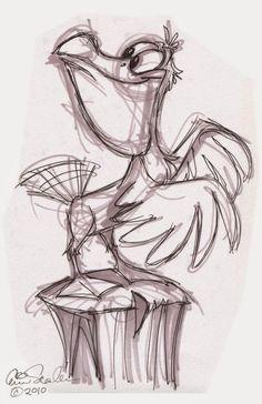 Изображения мультяшных животных карандашом.