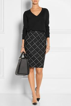 Office Style: black and white diagonal  grid, windowpane skirt