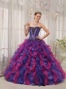 Multi-colored Sweetheart Organza Appliques Quinceanera Dress wholesale