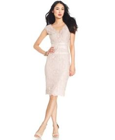Adrianna Papell Petite Cap-Sleeve Scalloped Lace Sheath | macys.com