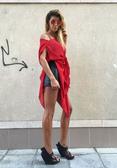 NEW S/S15 Red Chiffon Tunic / Oversized Loose Extra by SSDfashion