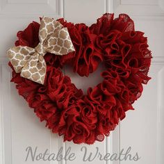 This adorable ruffle heart wreath made with crimson red burlap is accented with a gray and off white chevron patterend bow. Wreath pictured measures at around Valentine Day Wreaths, Valentine Decorations, Valentine Heart, Valentine Crafts, Holiday Wreaths, Holiday Crafts, Valentine Ideas, Mesh Wreaths, Diy Wreath