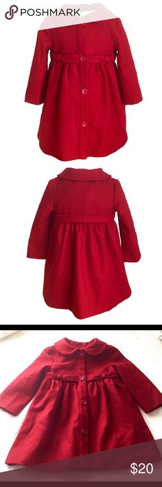 Gymboree Red Baby Pea Coat Jacket Gorgeous scarlet red pea coat from Gymboree!  Perfect condition; no flaws whatsoever!!! It features a button down front, a band at the waist, a gathered waistline that flairs in front and back, slightly chunky buttons, Peter Pan style collar, pockets on the sides, and thick wool blend material. Perfect for the upcoming Fall/Winter weather! So adorable! Again, perfect condition!!! Feel free to make an offer! Gymboree Jackets & Coats Pea Coats