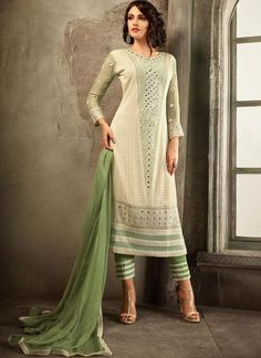 Pista Green Embroidered Salwar Suit