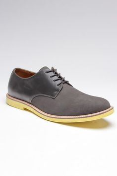 Grey Jeffrey Derby shoes with yellow soles