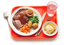 What's for Lunch in England? This is a classic British meal that school children voted as their favorite school meal. With help from Jamie Oliver, schools can no longer sell soda or candy bars, have restrictions on fried foods, and can't even have salt shakers in the cafeteria.
