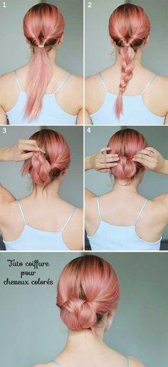 idée de coiffure avec des cheveux roses.