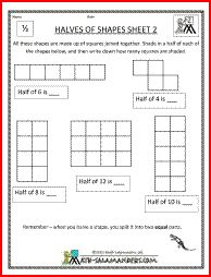 math worksheet : halves of shapes a fraction math worksheet involving shading half  : Fractions Of Shapes Worksheets