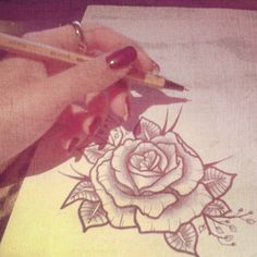 40 Ideas For Tattoo Rose Sketch Dreams Sleeve Tattoos For Women, Tattoos For Women Small, Small Tattoos, Tattoo Sketches, Tattoo Drawings, Flower Drawings, Trendy Tattoos, Tattoos For Guys, Rose Sketch