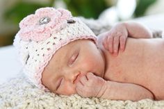 Newborn Crochet Hat in White and Pink with Rhinestone by onajeans, $19.50