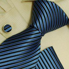 Black stripes men neck ties Blue stripes