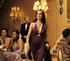 "Eva green (vesper lynd), purple halter v-neck backless dress casino royale 2006 bach (anya amasova), black dress in movie ""the spy who loved me"" James D'arcy, Casino Party Games, Casino Theme Parties, Casino Dress, Casino Outfit, Daniel Craig, Casino Royale Theme, Eva Green Casino Royale, Party Friends"