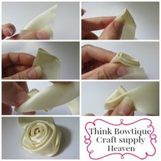 Make a ribbon rolled rosette with Think Bowtique Diy Lace Ribbon Flowers, Ribbon Flower Tutorial, Ribbon Embroidery Tutorial, Ribbon Bouquet, Satin Ribbon Flowers, Fabric Roses, Silk Ribbon Embroidery, Fabric Ribbon, Bow Tutorial