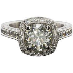 Spectacular Jack Kelege 2.02 Carat GIA Diamond Halo Platinum Engagement Ring