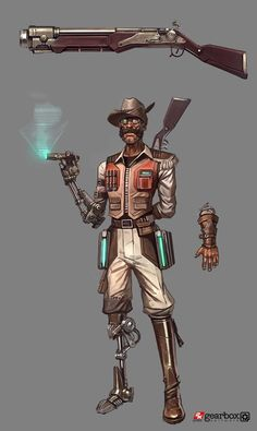 Sir Hammerlock concept art from Borderlands 2 by Matias Tapia