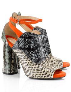 Multi Snake Print Leather Heels   Carven   Avenue32