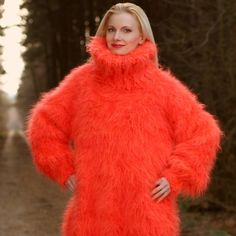 Hand knitted mohair sweater in red orange melange, size S, M, L, XL