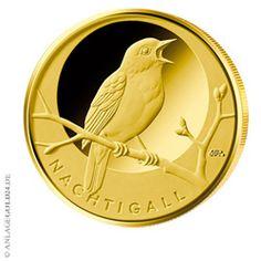 20 Euro Goldmünze aus Deutschland: Nachtigall, hier von der Prägestätte A wie Berlin